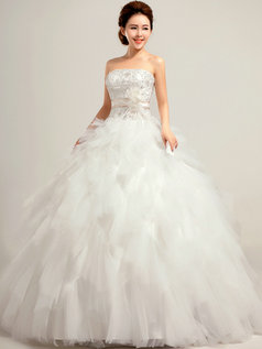 Ball Gown Tube Top Floor-length Tulle Cascading Ruffle Wedding Dresses
