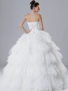 Ball Gown Strapless Floor-length Tulle Ruffle Wedding Dresses With Crystal