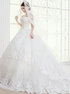 Ball Gown Sweetheart Brush Train Crystal Lace Wedding Dresses