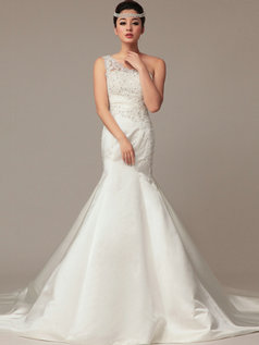 Mermaid One Shoulder Court Train Satin Beading Wedding Dresses