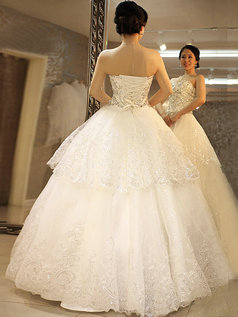Ball Gown Sweetheart Floor-length Crystal Lace Wedding Dresses