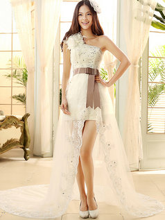 A-line One Shoulder Chapel Train Tulle Split Front Wedding Dresses With Sequin