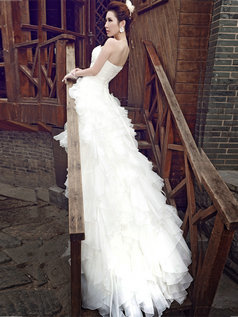 A-line Strapless Court Train Organza Cascading Ruffle Wedding Dresses