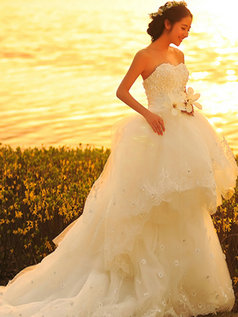 Princess Sweetheart Court Train Tulle Sequin Wedding Dresses