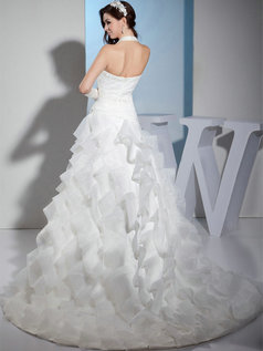 A-line Halter Brush Train Organza Tiered Appliques Wedding Dresses