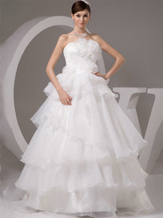Princess Strapless Floor-length Organza Flower Tiered Wedding Dresses