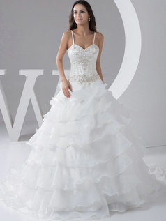 Princess Spaghetti Straps Sweetheart Brush Train Organza Tiered Wedding Dresses