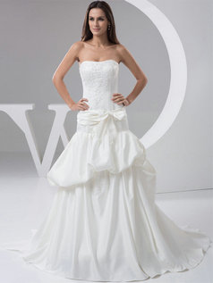 Mermaid Strapless Brush Train Satin Bowknot Sashes Wedding Dresses