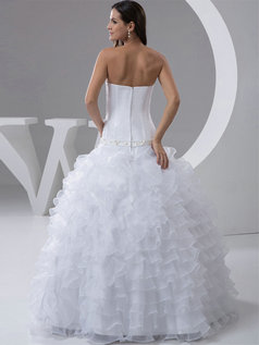 Ball Gown Strapless Floor-length Organza Ruffle Crystal Wedding Dresses