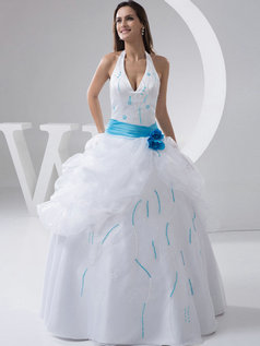 Ball Gown Halter Floor-length Organza Beading Pick-Ups Wedding Dresses