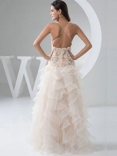 Mermaid Scalloped-edge Floor-length Organza Split Front Wedding Dresses With Semi Transparent