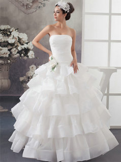 Princess Strapless Floor-length Organza Tiered Flower Wedding Dresses