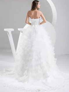Princess Strapless Brush Train Organza Flower Tiered Lace Wedding Dresses
