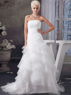 Over Hip Strapless Brush Train Organza Tiered Ruffle Wedding Dresses