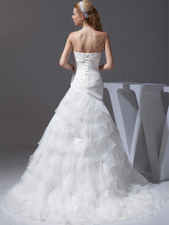 Over Hip Tube Top Sweep Organza Crystal Tiered Wedding Dresses