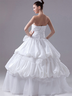 Ball Gown Strapless Floor-length Taffeta Pick-Ups Wedding Dresses With Bowknot