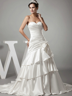Mermaid Sweetheart Brush Train Satin Bowknot Tiered Wedding Dresses