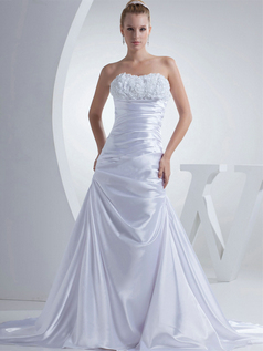 Over Hip Sweetheart Sweep Stretch Satin Flower Tiered Wedding Dresses