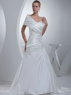 Mermaid V-neck Sweep Satin Short Sleeve Side-draped Wedding Dresses