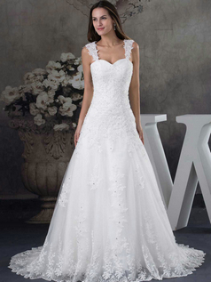 Over Hip Straps Brush Train Crystal Lace Wedding Dresses