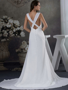 Over Hip Straps Square Brush Train Chiffon Wedding Dresses