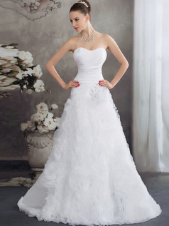 Over Hip Sweetheart Brush Train Organza Crystal Ruffle Wedding Dresses