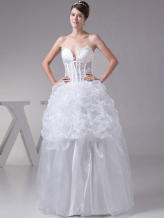 Ball Gown Spaghetti Straps Floor-length Organza Pick-Ups Wedding Dresses With Flower