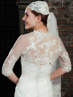 Astounding Half Sleeve Lace Bridal Jacket/Wedding Wrap