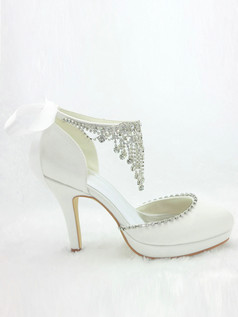 Satin Upper Stiletto Heel Closed-Toe With Rhinestone Wedding Shoes With Anklet