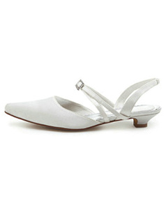 Chunky Heel Closed-toes Slingback Wedding Shoes With Hasp