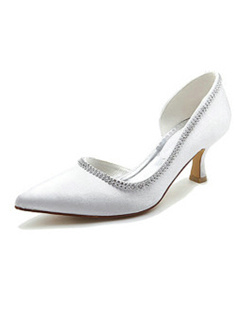Satin Upper Mid Heel Closed-toes Rhinestone Wedding Shoes