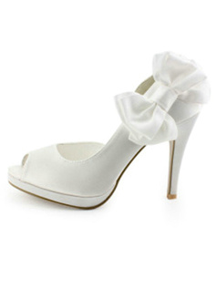 White Satin Upper Stiletto Heel Pumps Wedding Shoes With Bow