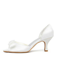 Satin Upper Stiletto Heel Pumps Wedding Shoes With Bow