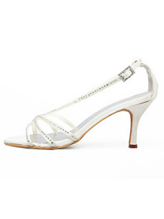 Satin Upper High Heel Open-toes Rhinestone Wedding Shoes