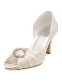 Satin Upper Stiletto Heel Pumps Wedding Shoes
