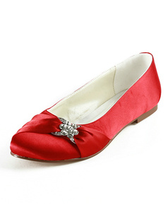 Red Satin Upper Flat Wedding Shoes With Rhinestones