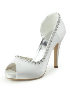 Satin Stiletto Heel Peep Toe Wedding Shoes With Rhinestones