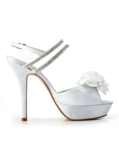 White Satin Upper Stiletto Heels Slingbacks Peep-toe Wedding Shoes With Flowers