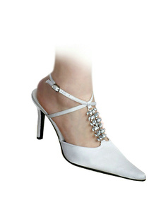 Satin Upper Stiletto Heel Rhinestone Slingbacks Wedding Shoes