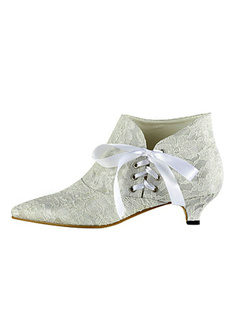 Lace And Satin Kitten Heel Ankle Wedding Boots With Ribbon Lace-up