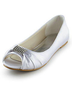 Satin Flat Heel Peep Toe Rhinestone Wedding Shoes