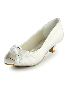 Satin Mid Heel Peep Toe Wedding Shoes