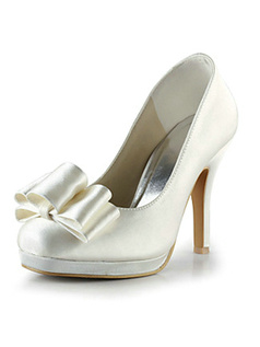Satin Stiletto Heel Closed Toe Pumps With Bowknot Wedding Shoes