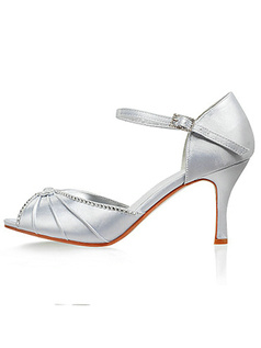 Satin Upper Stiletto Heel Peep Toe Wedding Shoes With Rhinestone