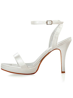 Simple Satin Upper Stiletto Heel Sandals Wedding Shoes