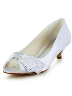 Satin Mid Heels Peep Toes Wedding Shoes With Rhinestones