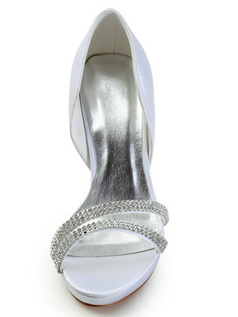Elegant Satin Stiletto Heels Platform Wedding Shoes With Rhinestones