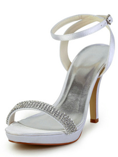 Satin Stiletto Heels Platform Sandals Wedding Shoes With Rhinestones