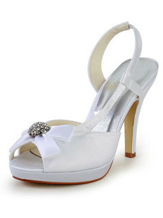 Satin Stiletto Heels Platform Sandals Peep Toes Wedding Shoes With Rhinestones