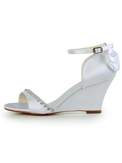Satin Wedge Sandals Buckle Wedding Shoes With Rhinestoness